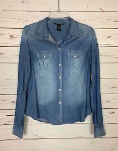 Lucky Brand Women's S Small Blue Denim Snap Long Sleeve Spring Shirt Top Blouse