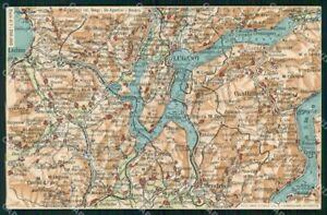 Varese Cartina.Varese Como Svizzera Cartina Geografica Mappa 55 Lago Di Lugano Cartolina Rt2479 Ebay