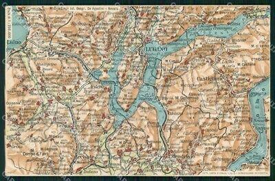 La Cartina Geografica Della Svizzera.Varese Como Svizzera Cartina Geografica Mappa 55 Lago Di Lugano Cartolina Rt2479 Ebay