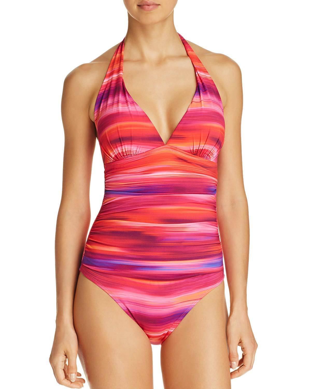 Lauren Ralph Lauren Women One Piece Swimsuit 12 Multi Ombre Ikat Halter Slim Fit