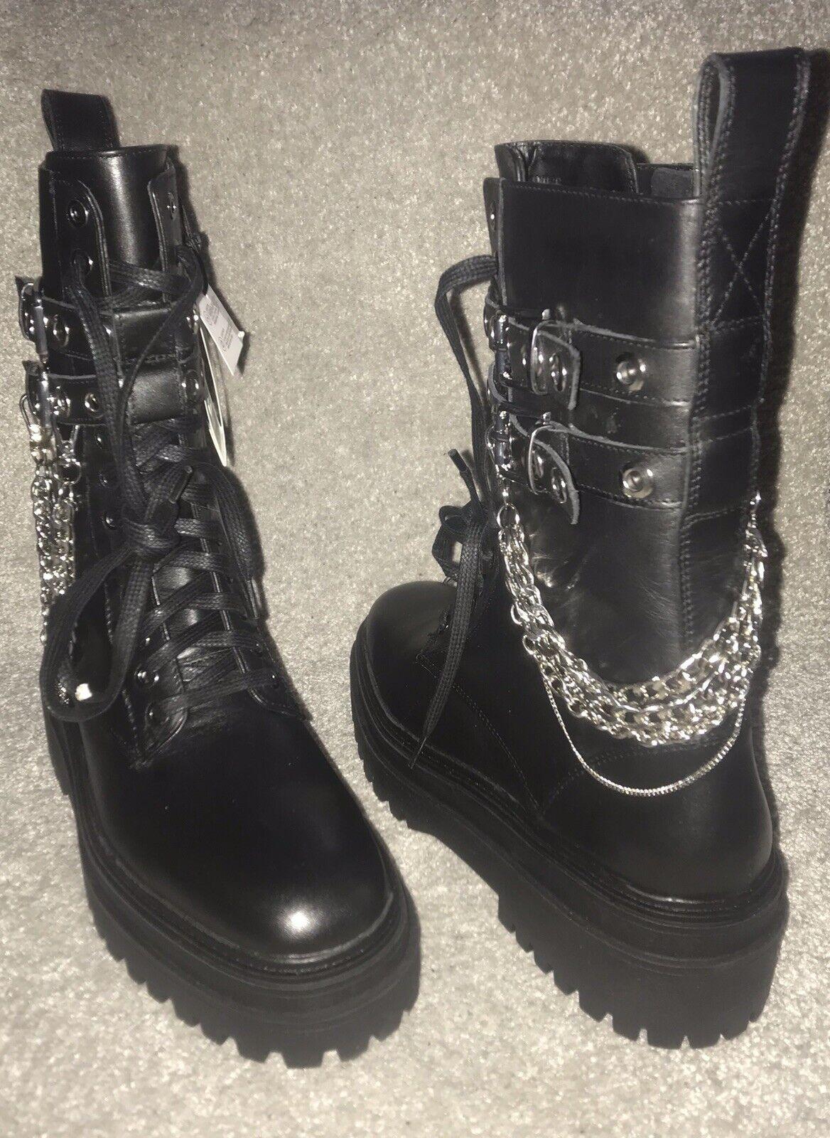 NEW ZARA black leather biker boots with detachable chains sz.3