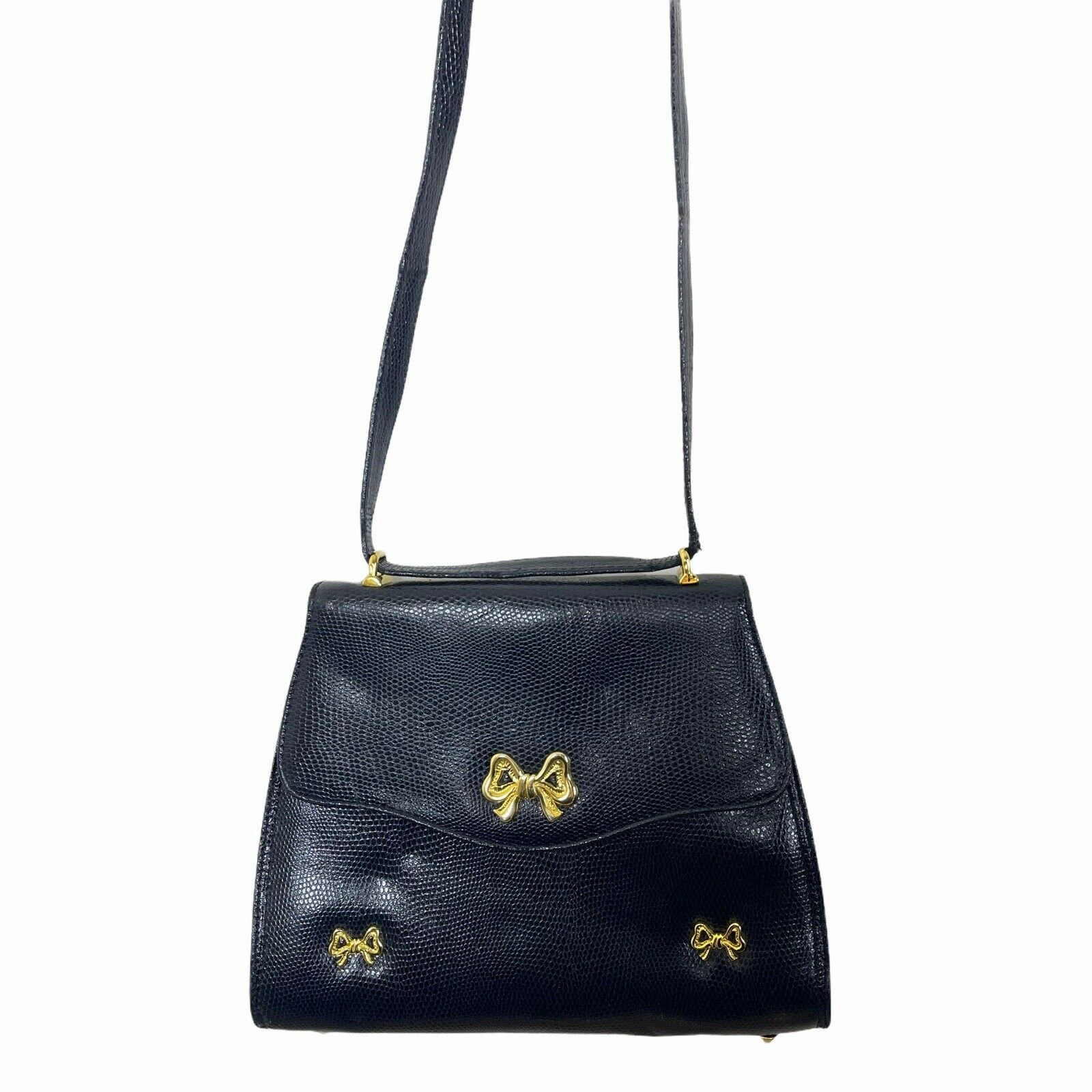 ARNOLD SCAASI NAVY LIZARD LEATHER WITH BOWS WOMEN… - image 10