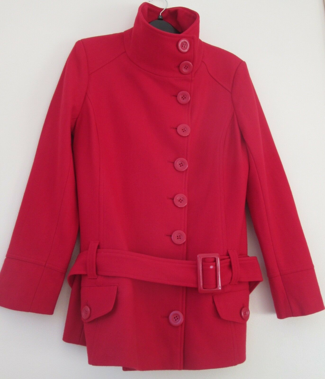 New Look Red Wool Rich Coat Single Breasted Size 14 in Excellent Condition