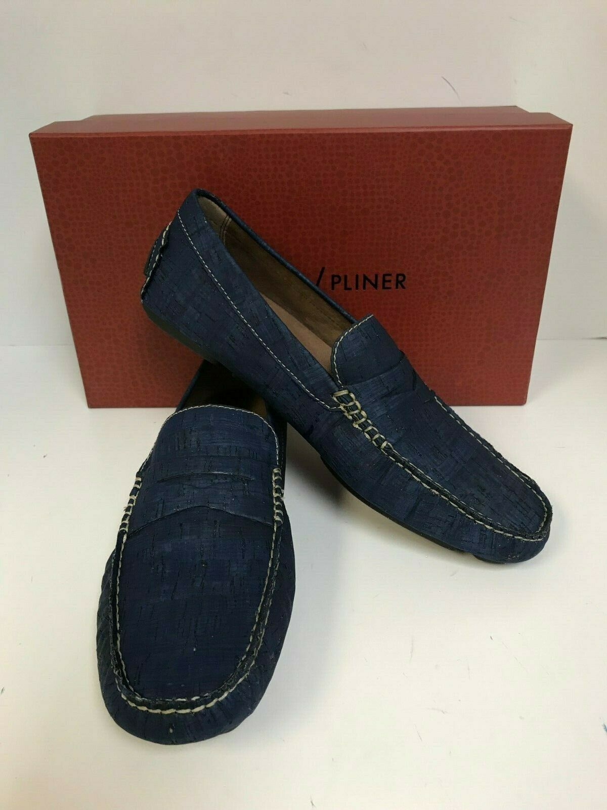 Donald Pliner Men's Vinco5-CL Navy colord Cork Leather Penny Driver