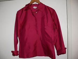 519f5c0d6f496 Ann Taylor Loft Women s Dress Shirt Career Pink Fuchsia 100% Silk ...