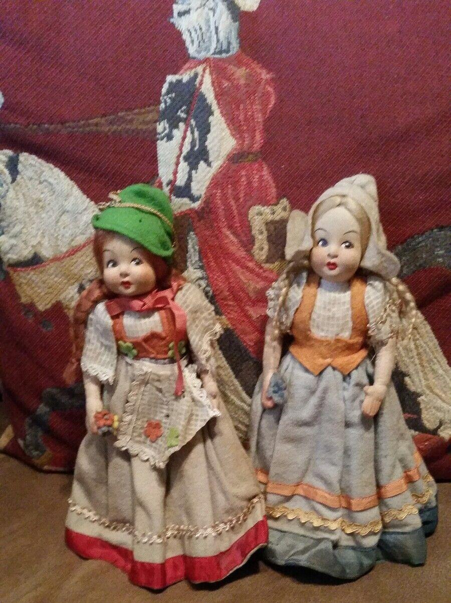 Antique Lenci Felt doll lot of 2 Dutch Irish ladies historical Xmas in July