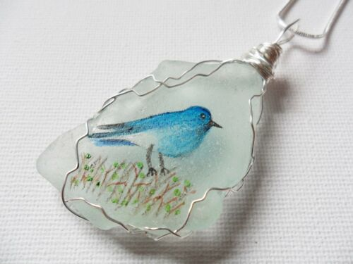 18 inch silver plated chain animal Hand painted Sea glass necklace Bluebird