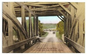 Covered-Bridge-Brown-County-State-Park-Nashville-IN-Hand-Colored-Postcard