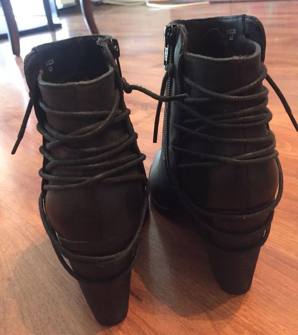 Steve Madden Negro Con Con Negro Cordones Botines De Cuero Talla 8.5 889a43