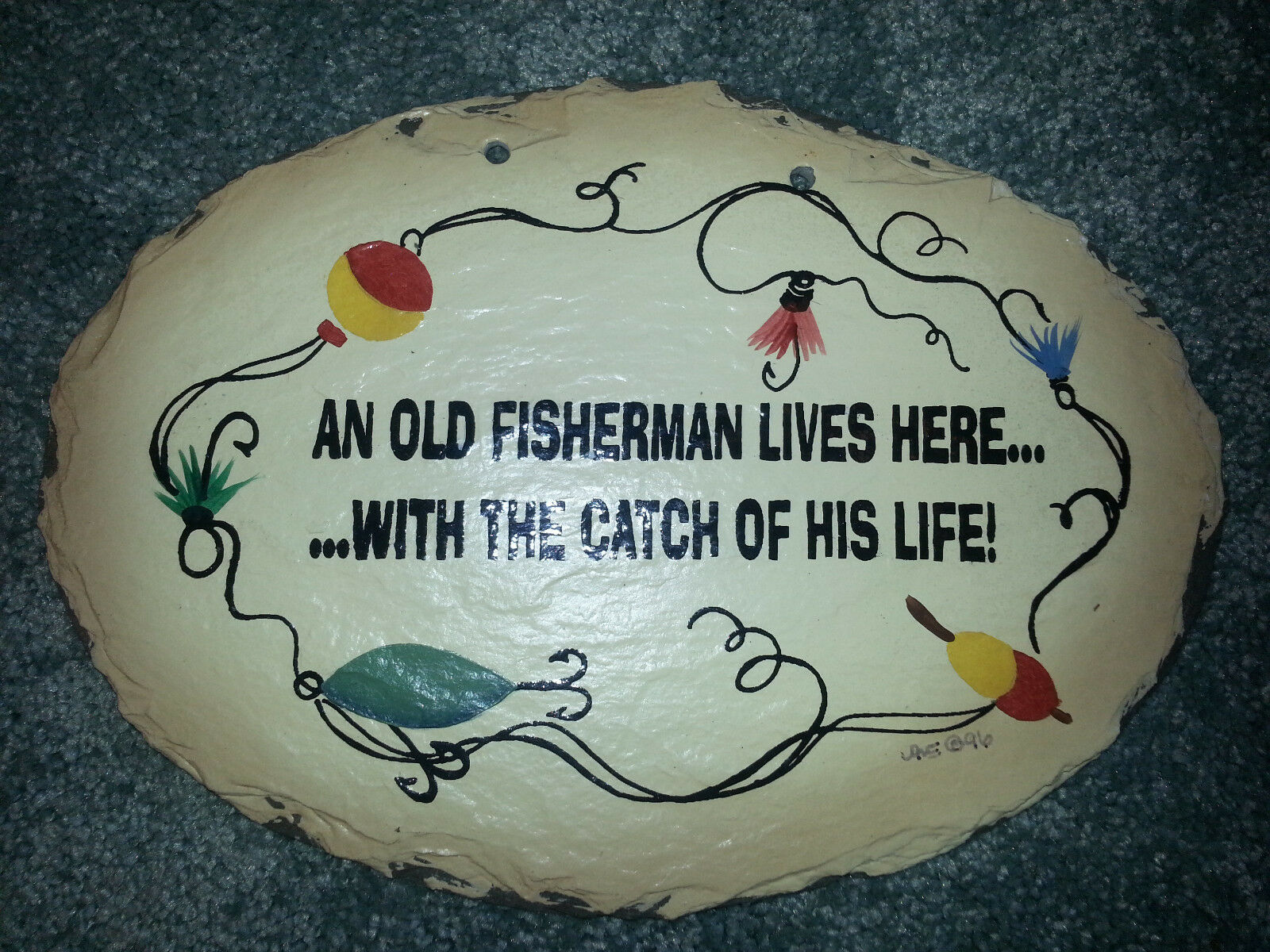 10  FISHING Wall Plaque OLD FISHERMAN CATCH OF LIFE Plain Jane FATHERS DAY GIFT