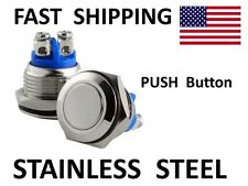 HORN switch - Custom Chopper Bobber SS Polished Stainless Steel Push Button SW