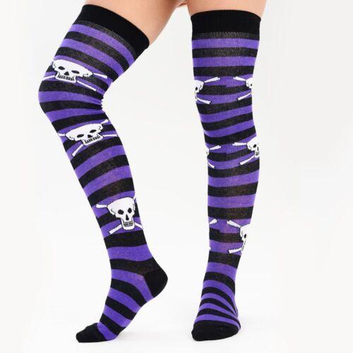 Womens Skull Striped Over The Knee Socks For Halloween /& Cosplay UK Size 4-6