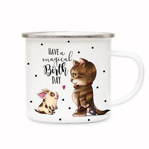 WunderschöNen Emaillebecher Campingbecher Tasse Schweinchen Katze Motto Magical Birthday Eb174 Zu Verkaufen Tassen Kindergeschirr & -besteck