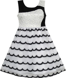 Sunny-Fashion-Robe-Fille-Sans-Manches-Dentelle-Tulle-Vague-Modele-Noir-Blanc
