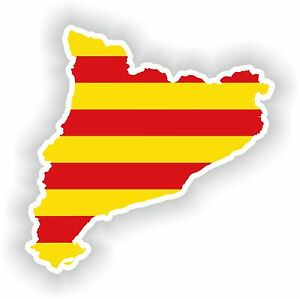 Sticker Silhouette Catalonia Cataluna Spain Map Flag For Bumper