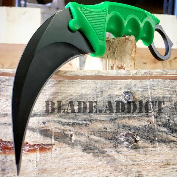 "7.5"" Zombie Fixed Blade Tactical Karambit Hawkbill Neck Knife Skinner Hunting"