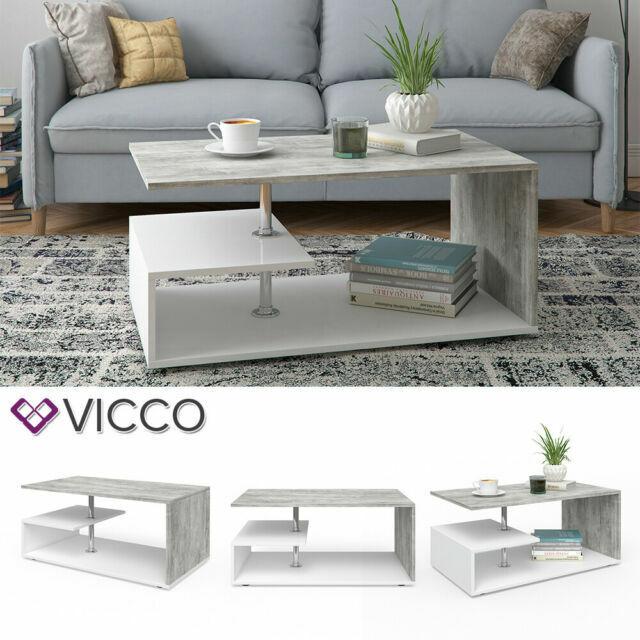 Vicco Tavolino Da Salotto Guillermo 90 X 50 Cm Bianco Cemento Acquisti Online Su Ebay