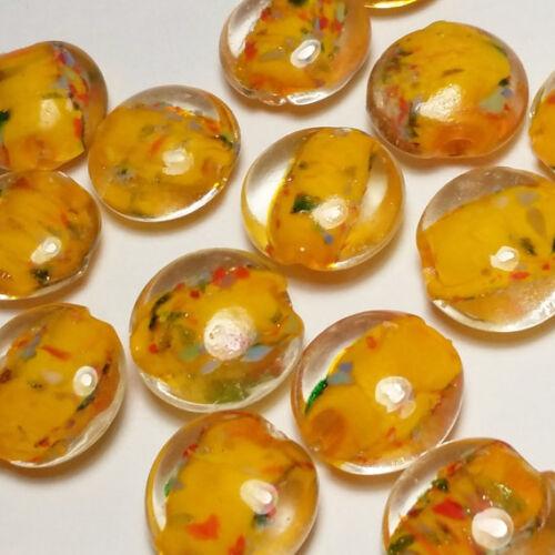 25 un Naranja centrado /& moteado Murano Cuentas 15 mm G3 fabricación de joyas