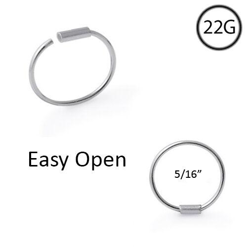 """925 Sterling Silver Nose Ring Hoop 1//4/"""" 5//16/"""" 3//8/"""" 22 Gauge 22G"""