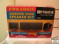 Fisher Ws-848 Pro Logic Surround Sound Speaker Kit 3 Speaker System