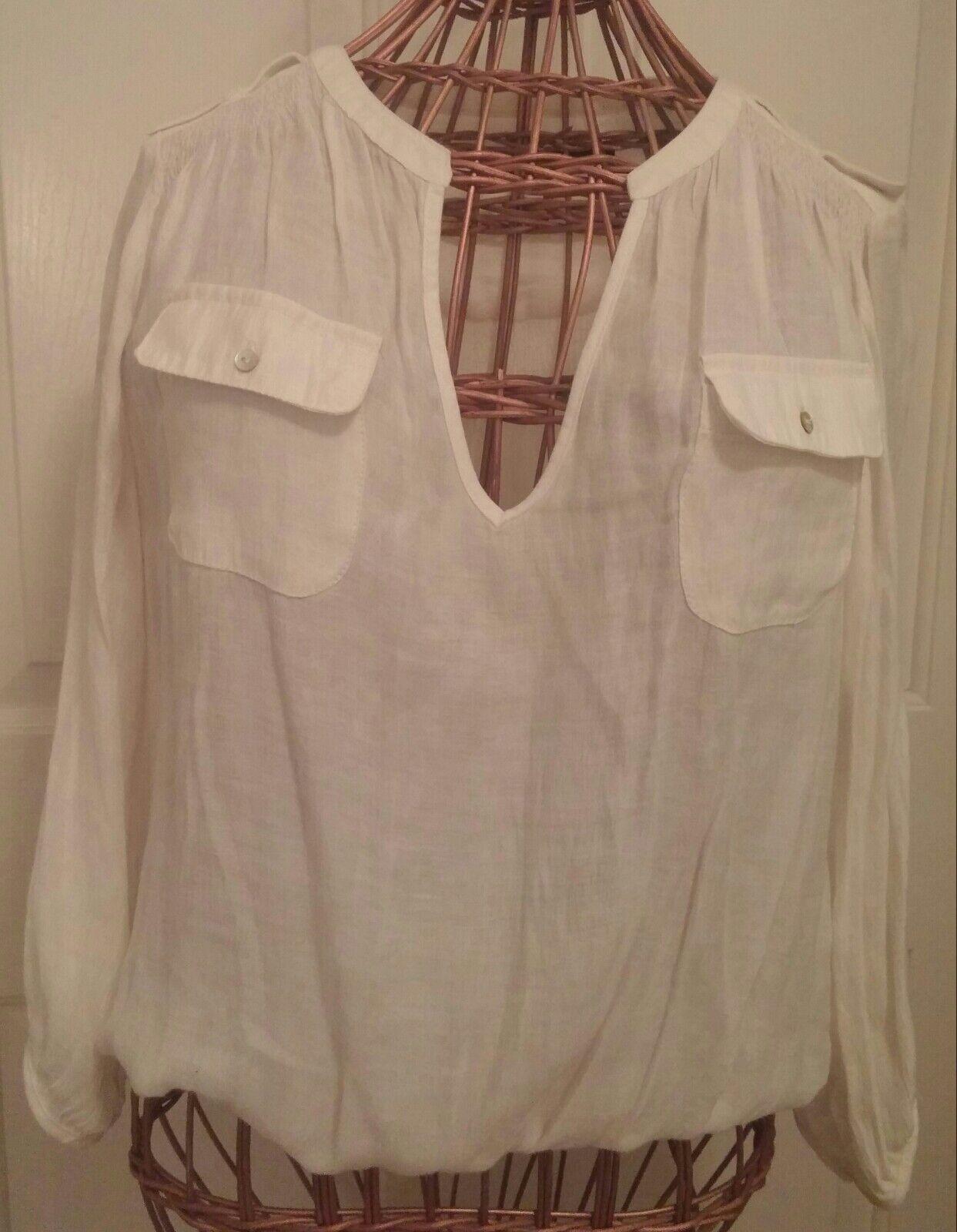 ZARA BASIC Women's Ivory Peasant Style Blouse Top Sz. Large