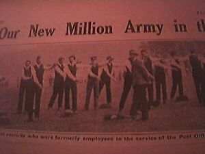 book-picture-ww1-world-war-one-1914-post-office-workers-signal-practice-rege