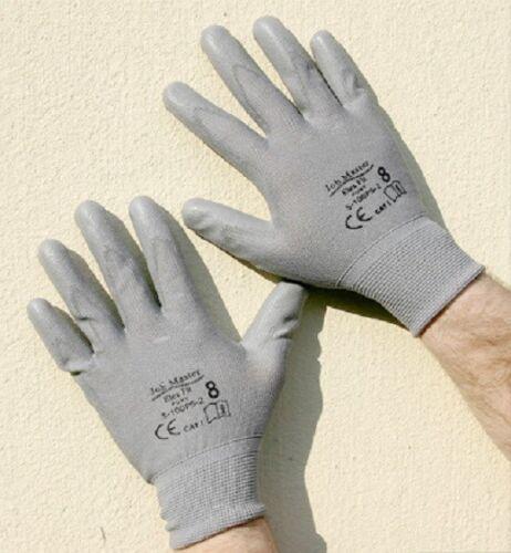 12 Pairs Of Brand New Grey Nylon PU Safety Work Gloves
