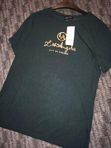 Dark-Green-T-Shirt-Gold-Writing-Dorothy-Perkins-Size-14-New