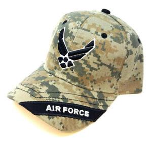 BLACK US AIR FORCE WINGS LOGO HAT CAP LICENSED ADJUSTABLE SEAL MILITARY USAF NWT