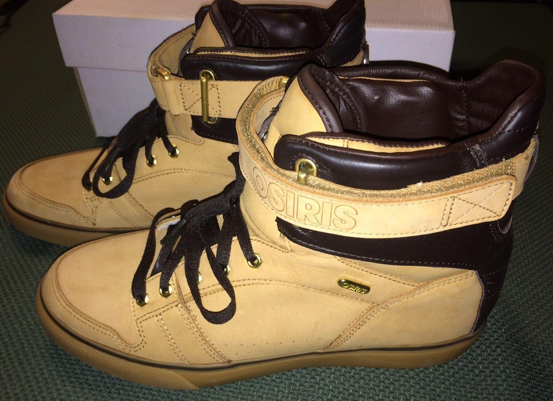 Osiris rhyme remix skate board size US-11 Uomo Tan - Brown - Gold Hi Tops - New