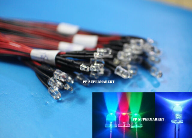 10 50 100ps 5mm Red/Green/Blue/RGB 3V 5V 12V DC Round Pre-Wired Water Clear LED