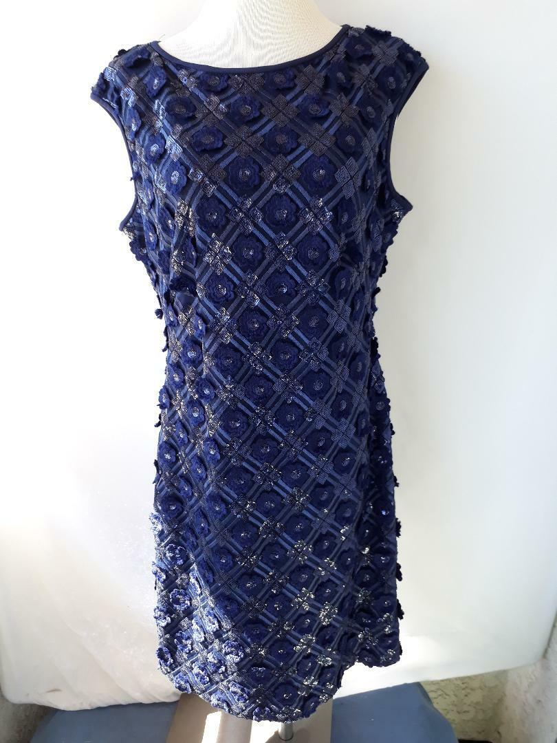 SL New York Fashions Floral Sequined Lace Fit Flare Dress Charcoal Dark blueee 12