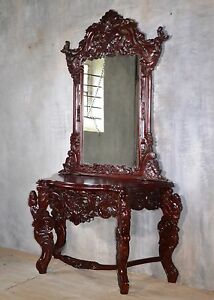 Delicieux Image Is Loading Rococo Dressing Table Mirror Console Table Mahogany Wood