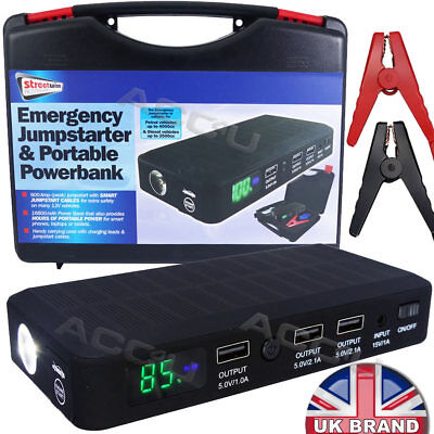 Streetwize Power Bank with Car Jump Starter Petrol Vehicles 4000cc Battery Charger Diesel Vehicles 2500cc Charging Ports