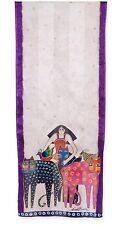 Laurel Burch Eta & Friends Birds Cats Woman 100% Silk Scarf Art scarves