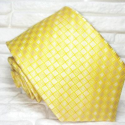 Cravatta Uomo Giallo Oro Geometrica 100% Seta Made In Italy Business Evento