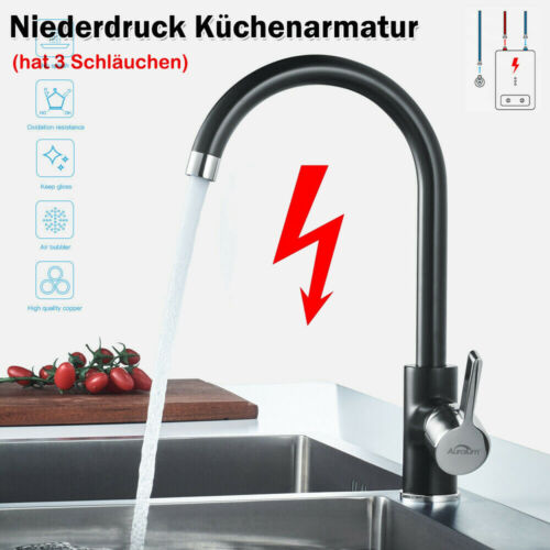 360° Küchenarmatur Niederdruck Wasserhahn Spültischarmatur Mischbatterie Schwarz