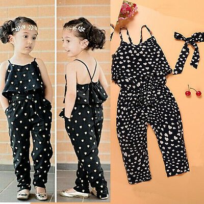 Baby Girls Summer Lovely Condole Jumpsuits + Belt 2PCs Set Kids Clothes Outfits