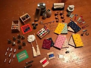 Large Lot Of Vintage Dollhouse Kitchen Sewing Tools Garden