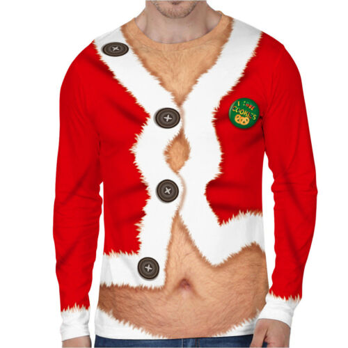 Christmas Xmas Mens Tops Ugly Hoodies Sweatshirt Jumper Festive Sweater T-shirts