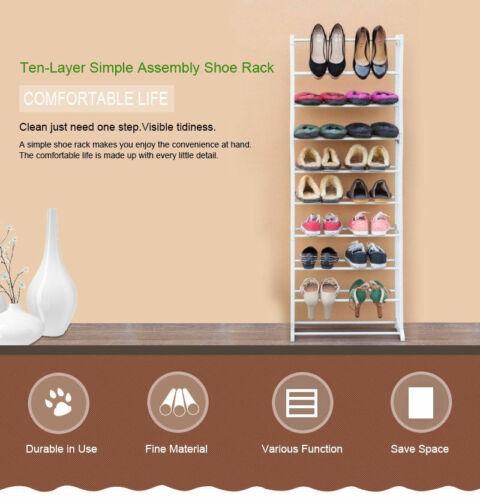 Schuhregal 10 Ebenen Schuhständer Schuhablage Stecksystem Aufbewahrung Weiß AT~