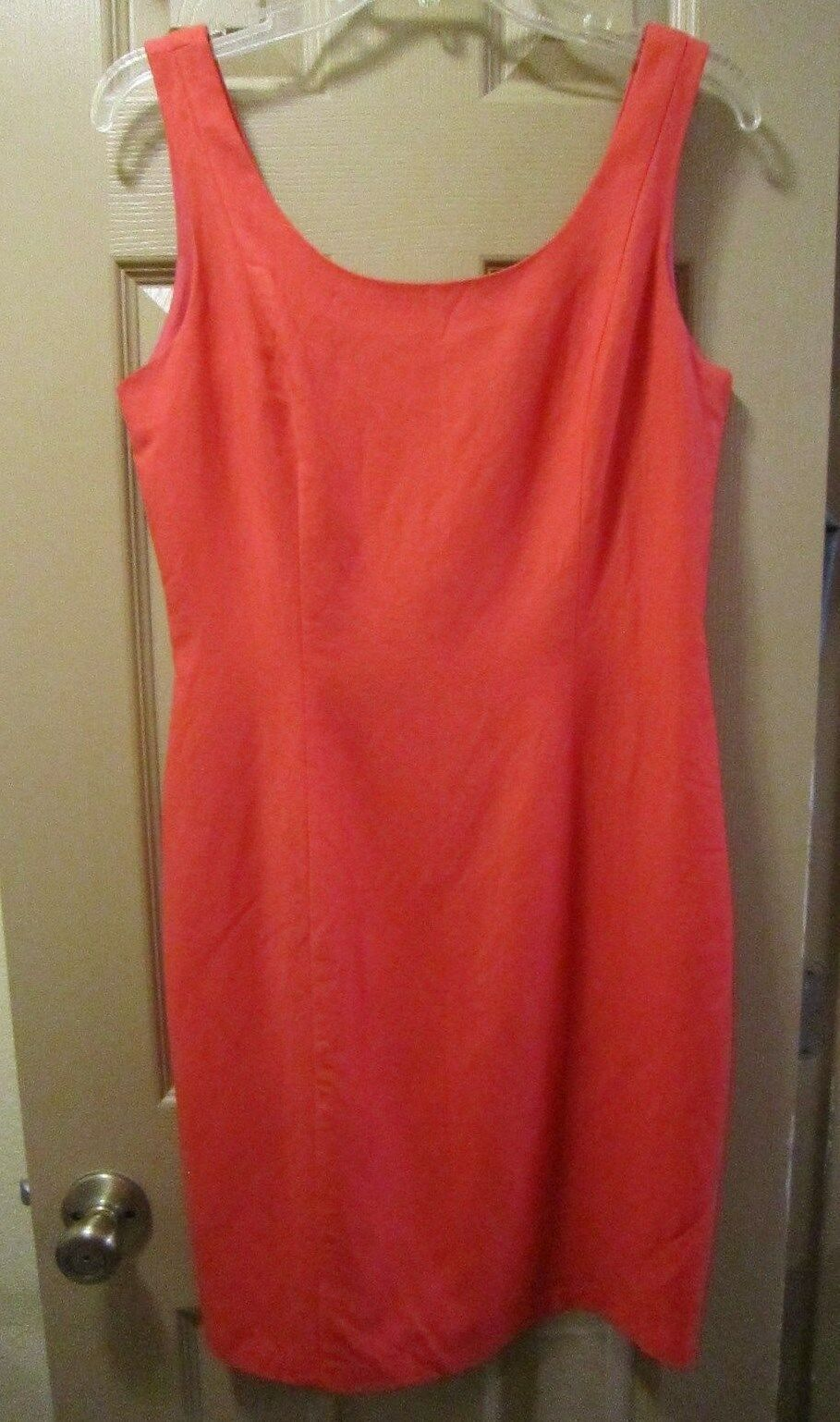 SZ 6 NEW YORK STUDIO WOMENS ORANGE PINK CORAL LINEN BLEND SHEATH STYLE DRESS EUC