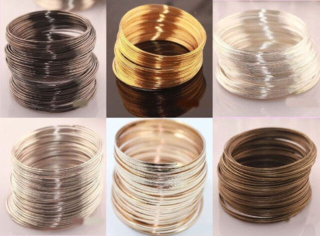 100Pcs Loops Silver/Gold Plated Memory Steel Wire Cuff Bangle Bracelet 60mm