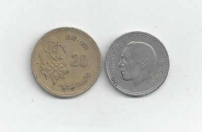 2 Different Coins From Morocco - 20 & 50 Santimat (both Dating 1987)