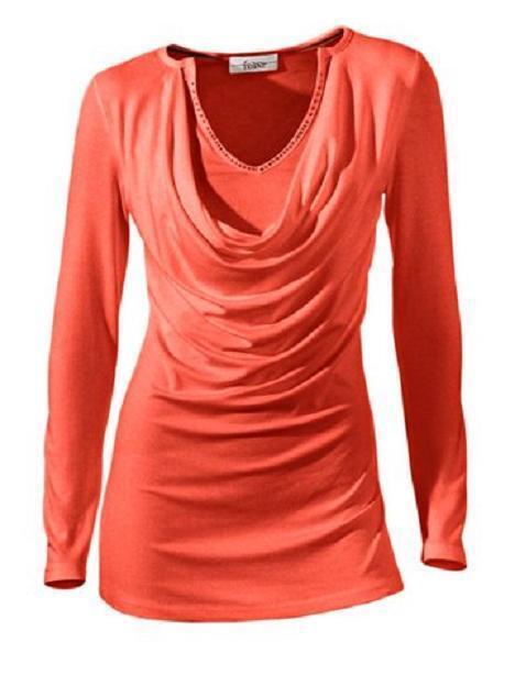 Trendfarbe,Damenshirt,Wasserfallshirt,Shirt;Bluse,Linea tesini,koralle,40/42/44