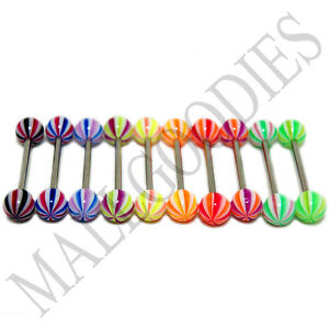W038-Acrylic-Tongue-Rings-Barbells-14G-Bars-Stripes-Pattern-Design-5-8-LOT-of-10