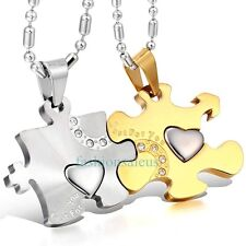 """Matching Stainless Steel """"Just For You"""" Couple's Puzzle Pendant Necklaces Gold"""