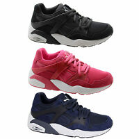 Puma Trinomic Blaze Jr Kids Trainers Juniors Shoes Navy Blue Pink 359930