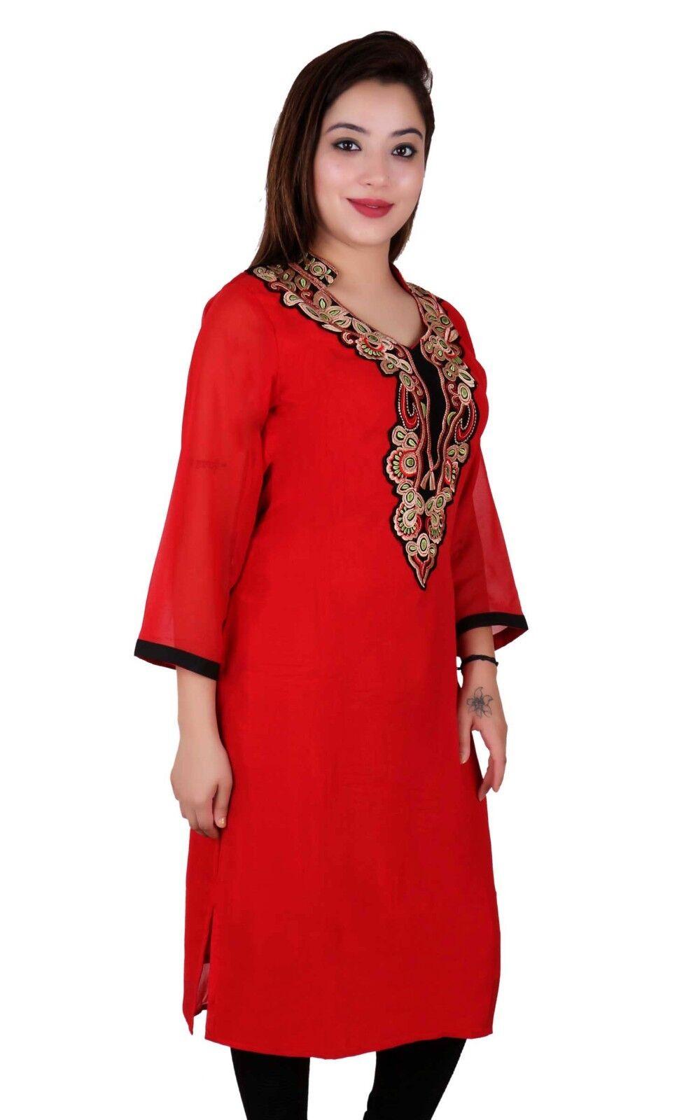 Indian Damen Neuer Stil Kurti Bollywood Mode Party Oberteile Tunika Kaftan 7013 | Haltbarer Service  | Modern  | Bekannt für seine gute Qualität