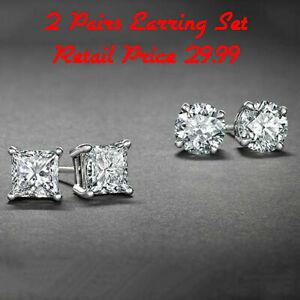 Sterling-Silver-Stud-Earrings-Cubic-Zirconia-Round-Men-Women-2PC-CZ-Earrings-Set